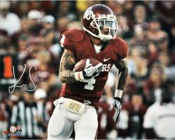 "Kenny Stills Oklahoma Sooners Autographed 16"" x 20"" Horizontal Red With Ball Photograph"