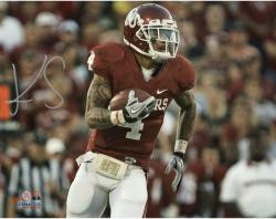 "Kenny Stills Oklahoma Sooners Autographed 8"" x 10"" Crimson Uniform With Ball Photograph"
