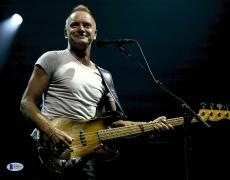 "Sting Autographed 11"" x 14"" Playing Guitar Wearing White Shirt Photograph - Beckett COA"