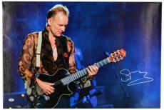 "Sting Autographed 20""x 30"" Black Guitar Stretched Canvas - BAS COA"