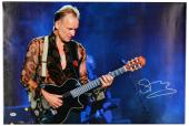 "Sting Autographed 20""x 30"" Black Guitar Stretched Canvas - BAS COA"