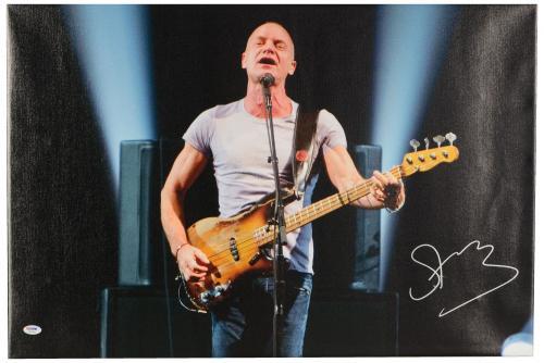 "Sting Autographed 20""x 30"" Front Veiw Stretched Canvas - BAS COA"