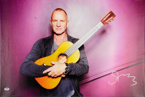 """Sting Autographed 20""""x 30"""" Hugging Guitar Stretched Canvas - BAS COA"""