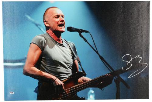 "Sting Autographed 20""x 30"" Side Veiw Stretched Canvas - BAS COA"