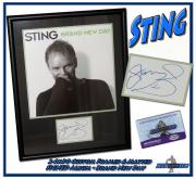 """STING Autographed CUSTOM FRAMED 24x30 """"Brand New Day"""" POLICE Signed ALBUM"""