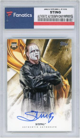 Sting Autographed WWE 2019 Topps WWE Masterstrokes Gold #A-ST #3/10 Card - Topps