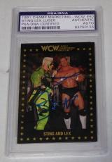 Sting & Lex Luger Signed 1991 WCW Championship Marketing Card 40 PSA/DNA COA WWE