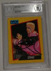 Sting Signed 1991 Impel WCW Card #12 BAS Beckett COA WWE Pro Wrestling Autograph
