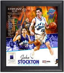 """John Stockton Utah Jazz Framed 15"""" x 17"""" Collage with Game-Used Jersey-Limited Edition of 512"""