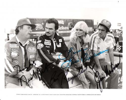 """STOKER ACE"""" Signed by 4 - BURT REYNOLDS, NED BEATTY, JIM NABORS, and LONI ANDERSON - 10x8 B/W Photo"""