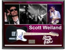 Stone Temple Pilots Scott Weiland Signed Guitar + Display Shadowbox Case AFTAL