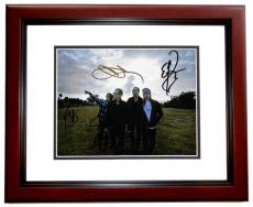 Chester Bennington - Stone Temple Pilots STP Group Signed - Autographed 8x10 inch Photo by Chester Bennington, Eric Kretz, Robert DeLeo, and Dean DeLeo - MAHOGANY CUSTOM FRAME - Guaranteed to pass PSA or JSA