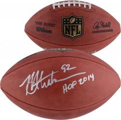 Michael Strahan New York Giants Autographed Duke Pro Football with HOF 2014 Inscription - Mounted Memories