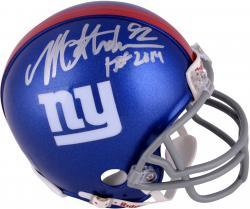Michael Strahan New York Giants Autographed Riddell Mini Helmet with HOF 2014 Inscription