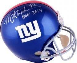 Michael Strahan New York Giants Autographed Riddell Replica Helmet with HOF 2014 Inscription - Mounted Memories