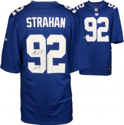 Michael Strahan New York Giants Autographed Nike Limited Blue Jersey with HOF 2014 Inscription