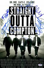 """Straight Out of Compton Staring 5 Autographed 12"""" x 18"""" Movie Poster - PSA/DNA"""