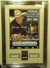 George Strait Tim McGraw Kenny Chesney Signed Auto Poster w/Tickets PSA