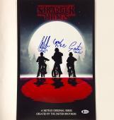 STRANGER THINGS Cast Signed 11x17 Photo ~ Beckett BAS COA LOA Mike Dustin Lucas