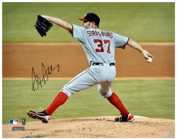 "Stephen Strasburg Washington Nationals Autographed 16"" x 20"" Gray Uniform Pitch Photograph"