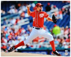 "Stephen Strasburg Washington Nationals Autographed 16"" x 20"" Red Uniform Pitching Photograph"