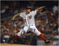 "Stephen Strasburg Washington Nationals Autographed 8"" x 10"" Horizontal White Uniform Photograph"