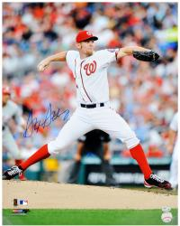 "Stephen Strasburg Washington Nationals Autographed 16"" x 20"" White Uniform Pitching Photograph"