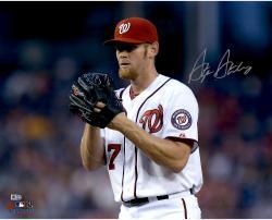 "Stephen Strasburg Washington Nationals Autographed 16"" x 20"" Horizontal Glove Near Face Photograph"