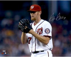 "Stephen Strasburg Washington Nationals Autographed 16"" x 20"" Horizontal Glove Near Face Photograph"