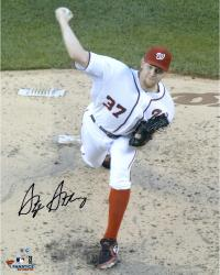"Stephen Strasburg Washington Nationals Autographed 16"" x 20"" White Uniform Overhead Photograph"