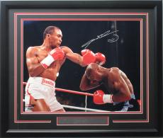 Sugar Ray Leonard 16x20 autographed Super Fight photo framed