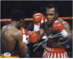 "Sugar Ray Leonard Autographed 8"" x 10"" Horizontal Action  Photograph"