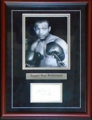 Sugar Ray Robinson Autographed Framed 3x5 Card w/ Unsigned 8x10 Photo (JSA)