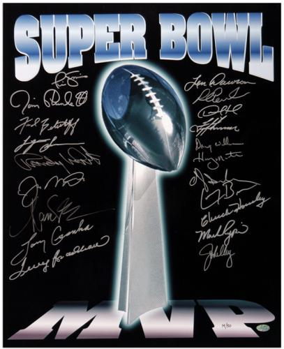 Super Bowl MVP Autographed Trophy 16'' x 20'' Photo