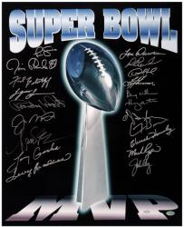 "Super Bowl MVP Autographed Trophy 16"" x 20"" Photo"