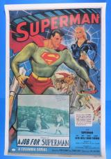 SUPERMAN CHAPTER FIVE KIRK ALYN SIGNED 28x41 POSTER ~ RARE AUTOGRAPH JSA L69192