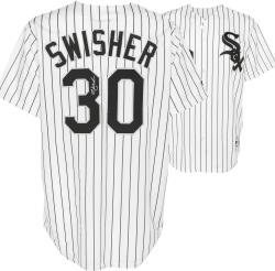 Nick Swisher Chicago White Sox Autographed Replica Pinstripe Jersey - Mounted Memories
