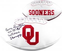 Barry Switzer Oklahoma Sooners Autographed Football with Multiple Inscriptions