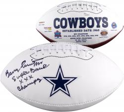 Barry Switzer Dallas Cowboys Autographed Logo Football with SB XXX Champs Inscription