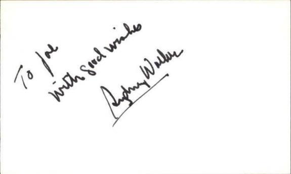"SYDNEY WALKER d. 1994 MRS. DOUBTFIRE Signed 3""x5"" Index Card"