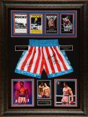 """Sylvester Stallone and Carl Weathers 37"""" x 49"""" Framed Rocky Collage With Autographed Boxing Trunks – Beckett COA"""