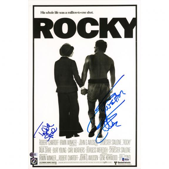 """Sylvester Stallone and Talia Shire Rocky Autographed 12"""" x 18"""" Movie Poster - Beckett"""