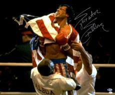 "Sylvester Stallone Autographed 20"" x 24"" Rocky- Holding American Flag Photograph - Beckett COA"