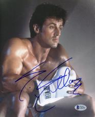 """Sylvester Stallone Autographed 8""""x 10"""" Rocky White Tuff Wear Boxing Glove Photograph - Beckett COA"""