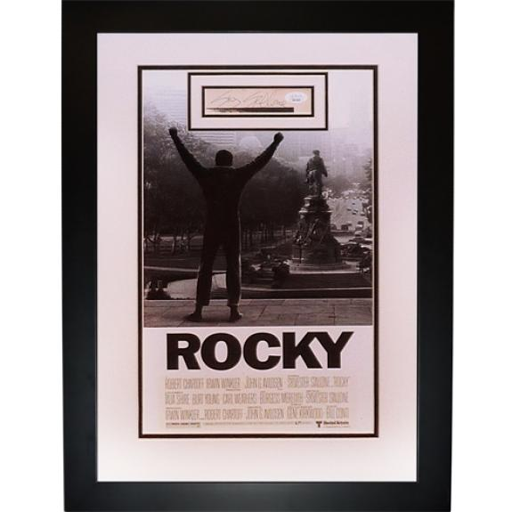 Sylvester Stallone Autographed Rocky Deluxe Framed Movie Poster Piece – JSA