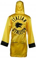 Sylvester Stallone Autographed Rocky Italian Stallion Gold Boxing Robe - Beckett COA