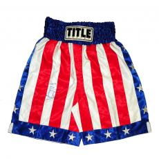 Sylvester Stallone Autographed Rocky Title Boxing Flag Shorts UACC RD AFTAL