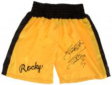 Sylvester Stallone Autographed Yellow Rocky Boxing Trunks - Beckett COA