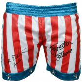 Sylvester Stallone & Carl Weathers Autographed USA Boxing Trunks - Beckett COA