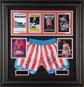 "Sylvester Stallone & Carl Weathers Rocky Framed Autographed 37"" x 39"" Movie Collage - PSA/DNA"